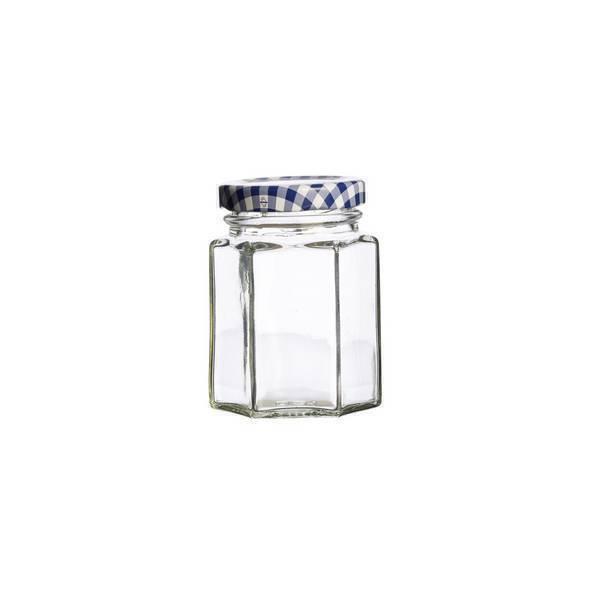Kilner - Bocal hexagonal en verre couvercle Vichy 11cl