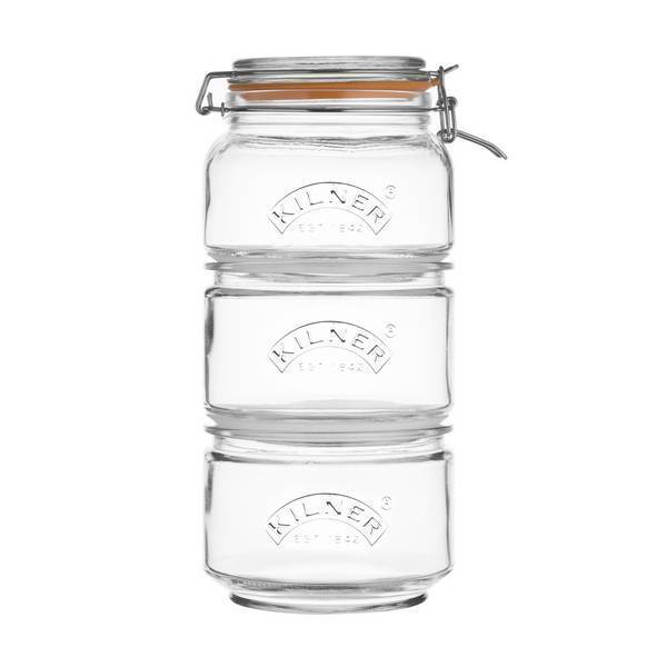 Kilner - Set de 3 bocaux empilables en verre 90cl