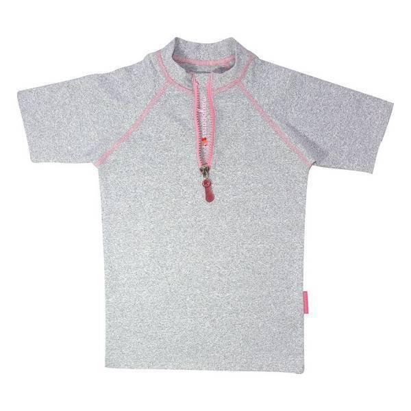 Mayoparasol - T-shirt anti-UV - Zip avant - Grisette rose - 3 à 8 ans