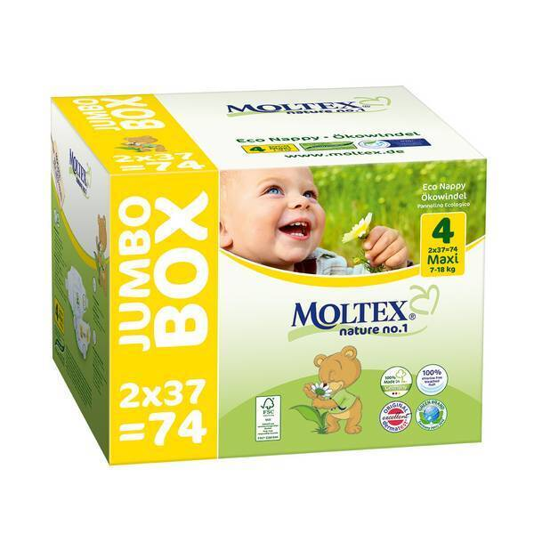 Moltex - Lot 8 x 74 Couches T4 Eco-Maxi 7-18kg - Jumbo Box