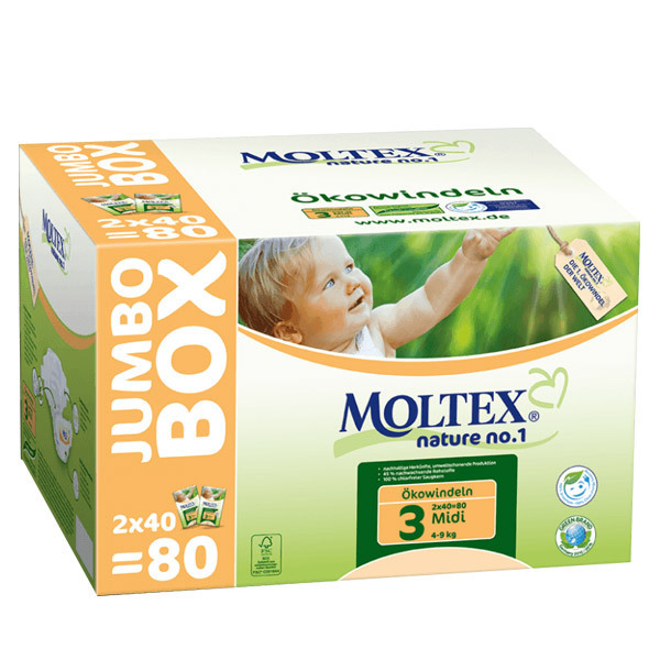 Moltex - Lot 8 x 80 Couches T3 Eco-Midi Moltex 4-9kg - Jumbo Box