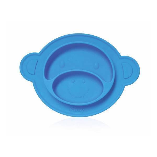 Nuby - Assiette anti-dérapante singe silicone bleue