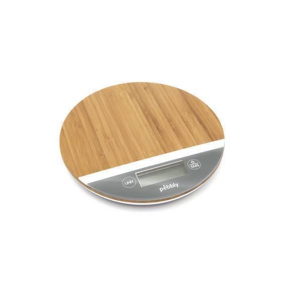 Pebbly - Balance ronde bambou blanc/gris