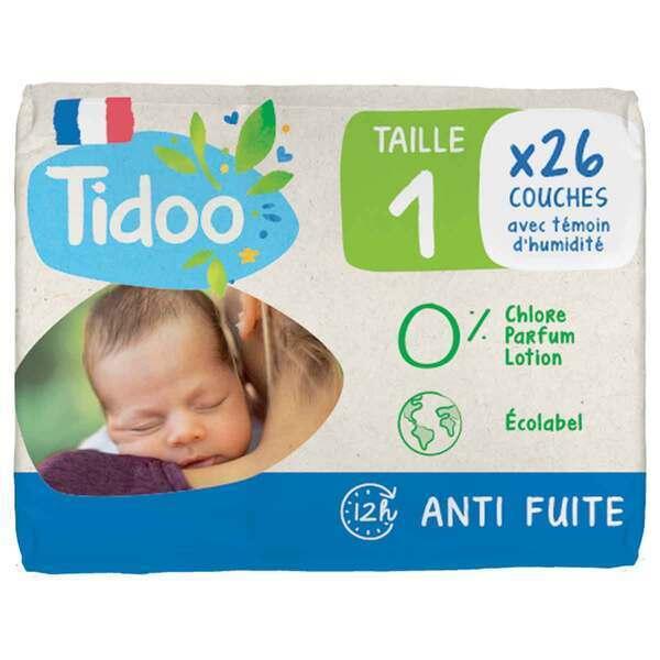 Tidoo - 26 Couches T1 2-5kg Hypoallergéniques Nature