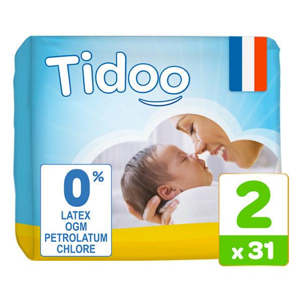 Tidoo - 31 Couches T2 3-6kg Hypoallergéniques Nature