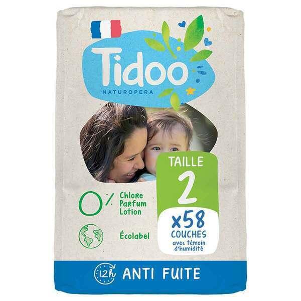 Tidoo - 58 Couches T2 3-6kg Hypoallergéniques Nature
