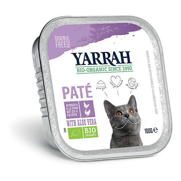 Yarrah - Lot de 6 x Pâtées pour chat bio barquette Poulet et Dinde 100g