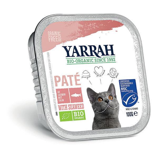 Yarrah - Lot de 6 x Pâtées pour chat bio barquette Saumon 100g