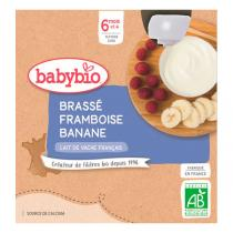 Babybio - Gourde Brassé framboise banane 4 x 85g - dès 6 mois