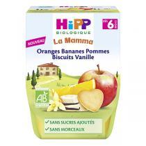 HiPP - Purée Oranges Bananes Pommes Biscuits Vanille 2x190g
