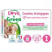 Love & Green - 23 Couches hypoallergéniques - T1, 2-5Kg