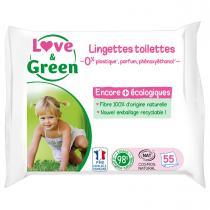 Love & Green - 55 Lingettes désintégrables au wc - Sans parfum