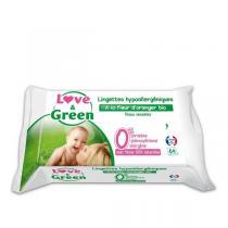 Love & Green - 64 Lingettes hypoallergéniques à la fleur d'oranger