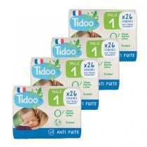 Tidoo - Pack 4x26 Couches T1 2-5kg Hypoallergéniques Nature