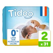 Tidoo - Pack 4x31 Couches T2 3-6kg Hypoallergéniques Nature
