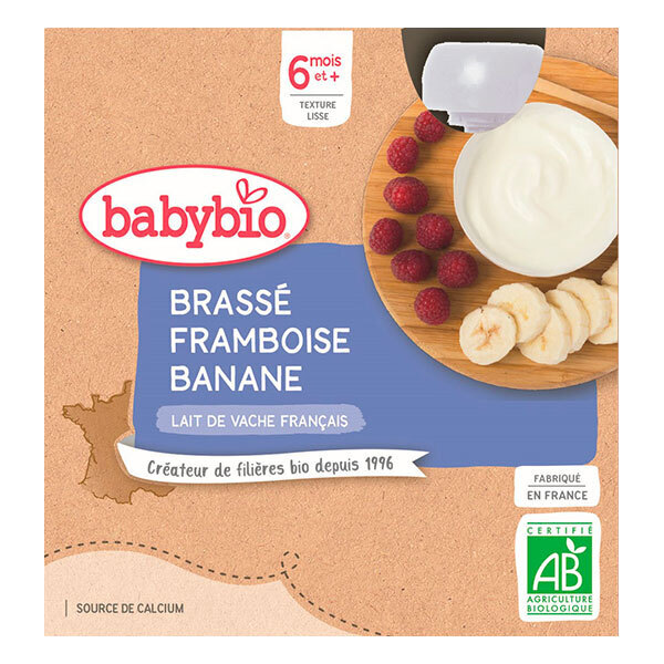 Babybio - Brassé framboise banane gourde dès 6 mois 4x85g