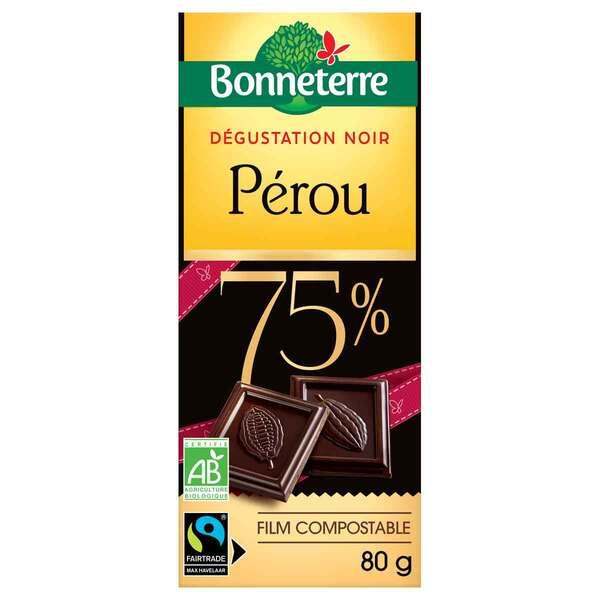 Bonneterre - Tablette chocolat Noir Séléction Perou 75% 80g