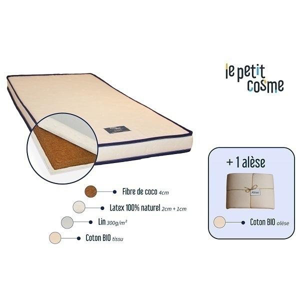 Cosme Literie - Matelas Bébé en latex Le Petit Cosme 60 x 120cm avec 1 alèse