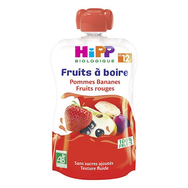 Hipp - Gourde Pommes Bananes Fruits rouges 120ml