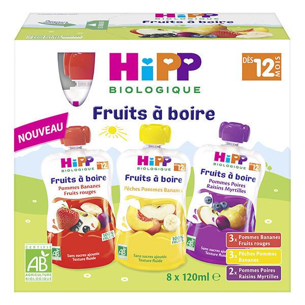 HiPP - Gourdes fruits à boire 3 saveurs 8x120ml