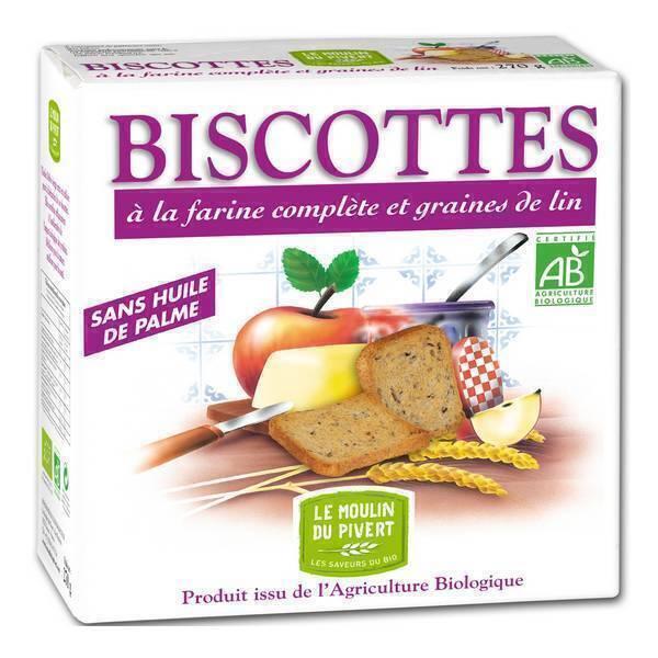 Le Moulin du Pivert - Biscotte Farine complète et graines de lin 270g