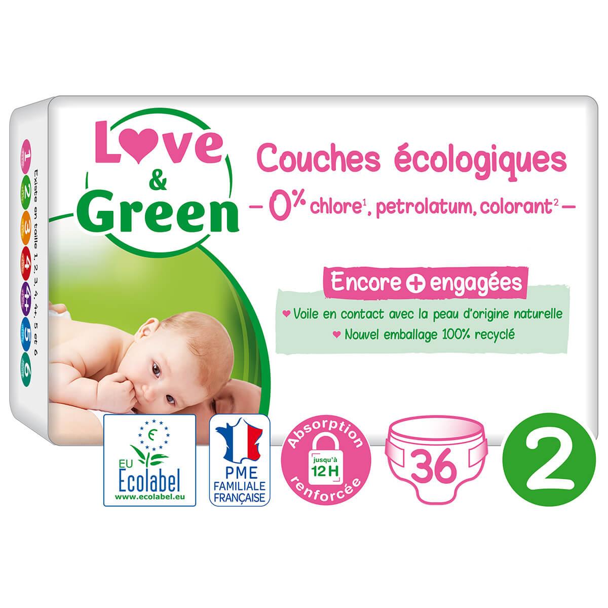 Love & Green - 36 Couches hypoallergéniques - T2, 3-6Kg