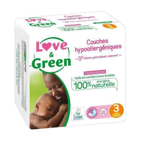 Love & Green - 32 Couches hypoallergéniques - T3, 4-9Kg