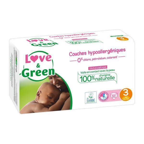 Love & Green - 52 Couches hypoallergéniques Jumbo - T3, 4-9Kg