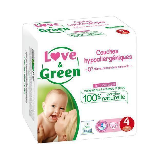 Love & Green - 30 Couches hypoallergéniques - T4, 7-14Kg