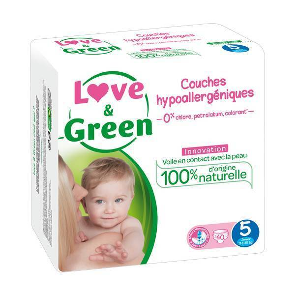 Love & Green - 40 Couches hypoallergéniques Jumbo - T5, 12-25Kg