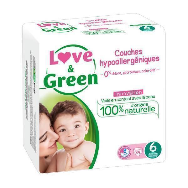 Love & Green - 34 Couches hypoallergéniques Jumbo - T6, 15Kg et +