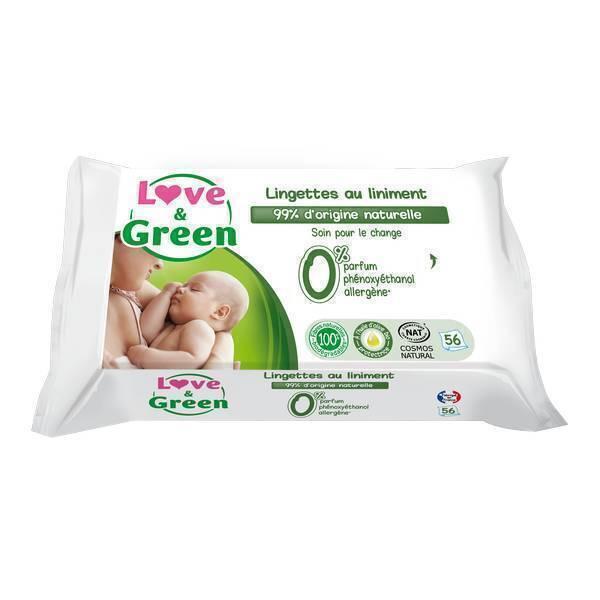 Love & Green - 56 Lingettes au liniment hypoallergéniques