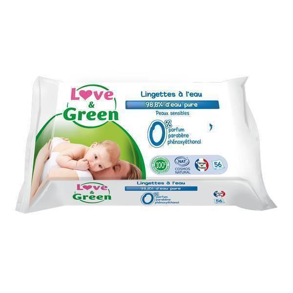 Love & Green - 56 Lingettes hypoallergéniques à l'eau micellaire