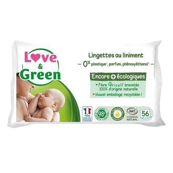 Love & Green - Pack 3x56 Lingettes au liniment hypoallergéniques