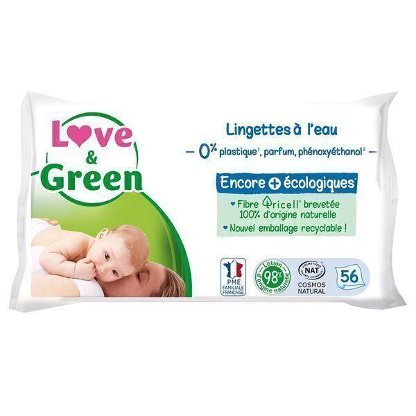 Love & Green - Pack 3x56 Lingettes hypoallergéniques à l'eau micellaire
