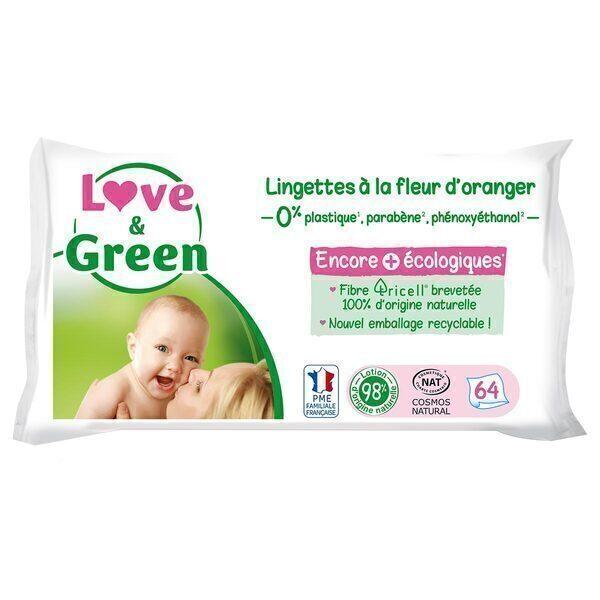 Love & Green - Pack 3x64 Lingettes hypoallergéniques à la fleur d'oranger