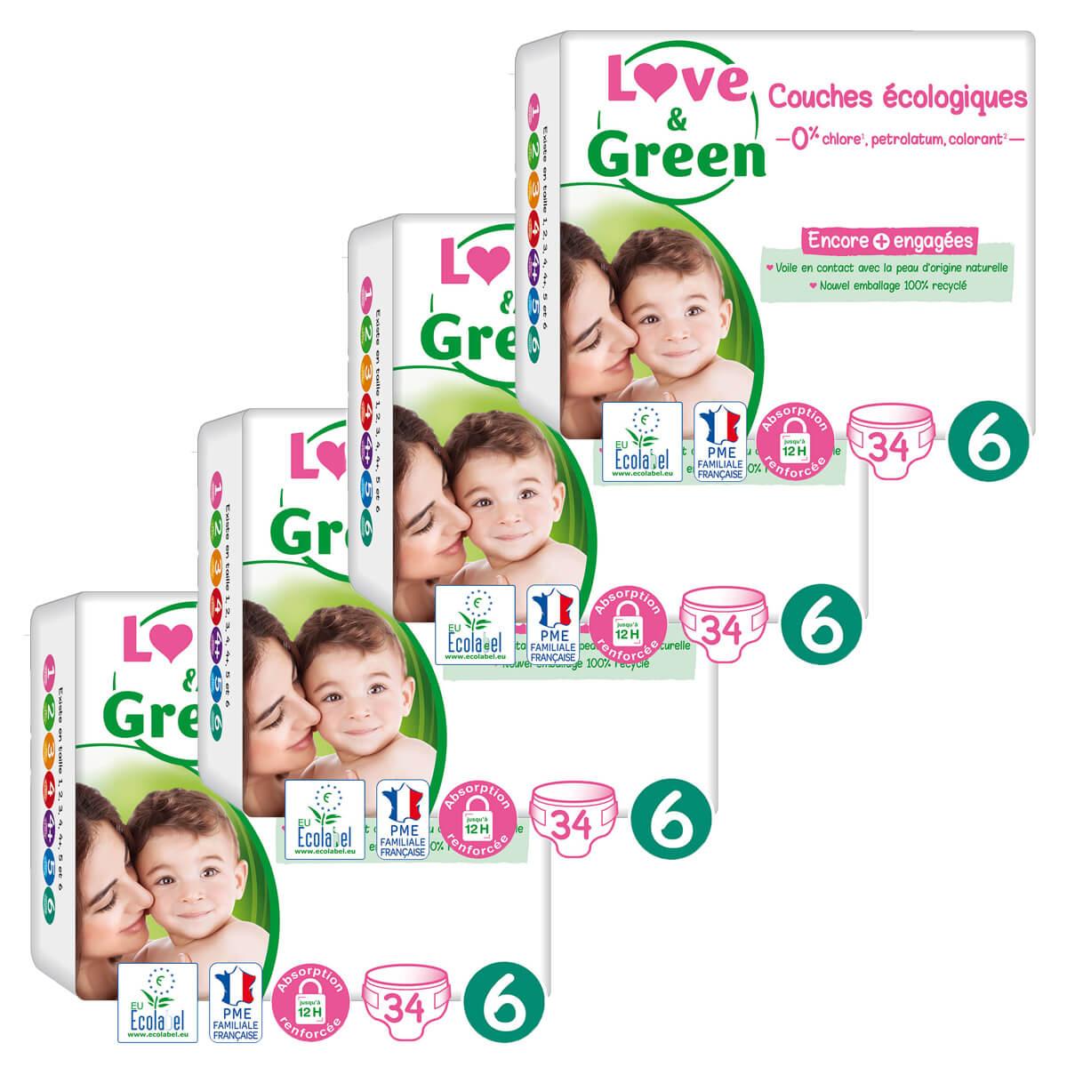 Love & Green - Pack 4x34 Couches hypoallergéniques Jumbo - T6, 15Kg et plus