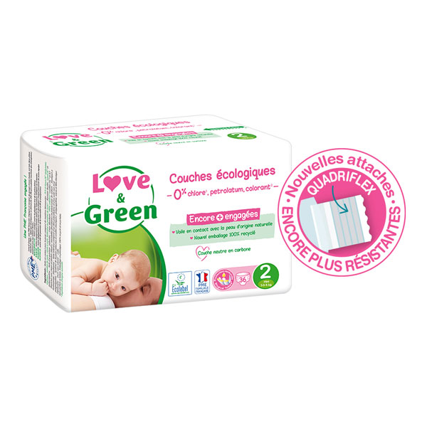 Love & Green - Pack 4x36 Couches hypoallergéniques - T2, 3-6Kg