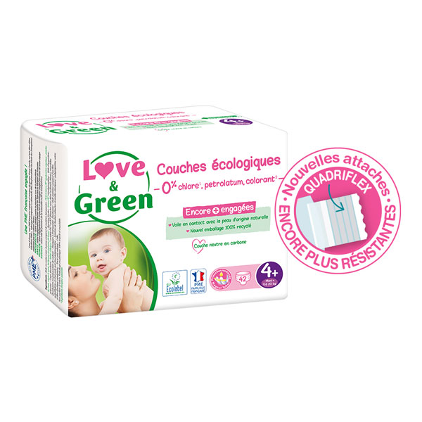 Love & Green - Pack 4x42 Couches hypoallergéniques Jumbo - T4+, 9-20Kg