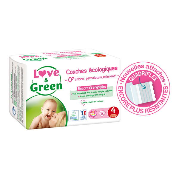 Love & Green - Pack 4x46 Couches hypoallergéniques Jumbo - T4, 7-14Kg