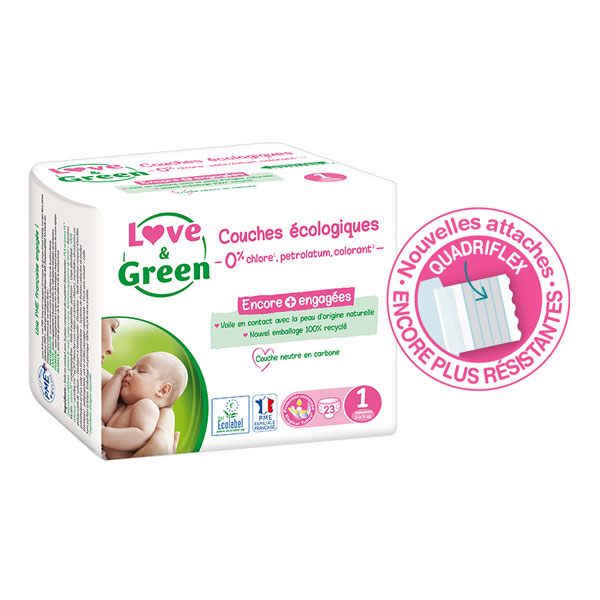 Love & Green - Pack 8x23 Couches hypoallergéniques - T1, 2-5Kg