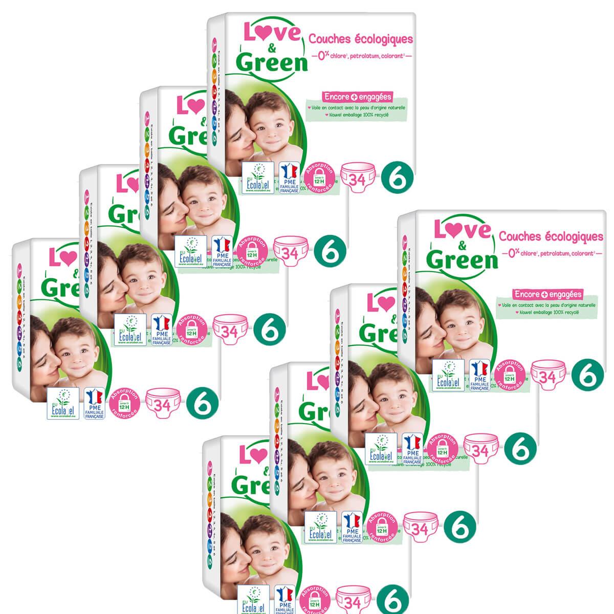 Love & Green - Pack 8x34 Couches hypoallergéniques Jumbo - T6, 15Kg et plus