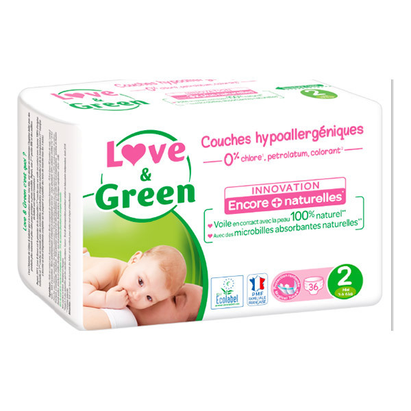 Love & Green - Pack 8x36 Couches hypoallergéniques - T2, 3-6Kg
