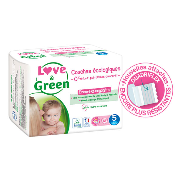 Love & Green - Pack 8x40 Couches hypoallergéniques Jumbo - T5, 12-25Kg