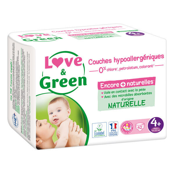 Love & Green - Pack 8x42 Couches hypoallergéniques Jumbo - T4+, 9-20Kg