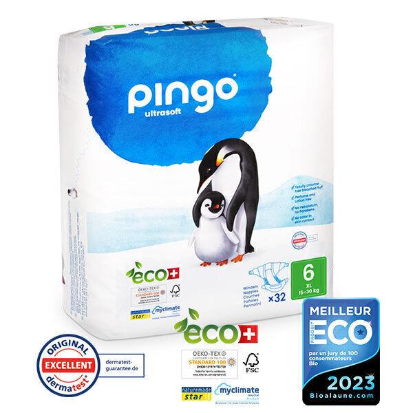 Pingo - Pack 8 x 32 Couches écologiques jetables T6 15-30kg