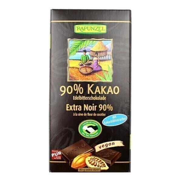 Rapunzel - Chocolat Extra Noir 90% sucre fleur de coco 80g