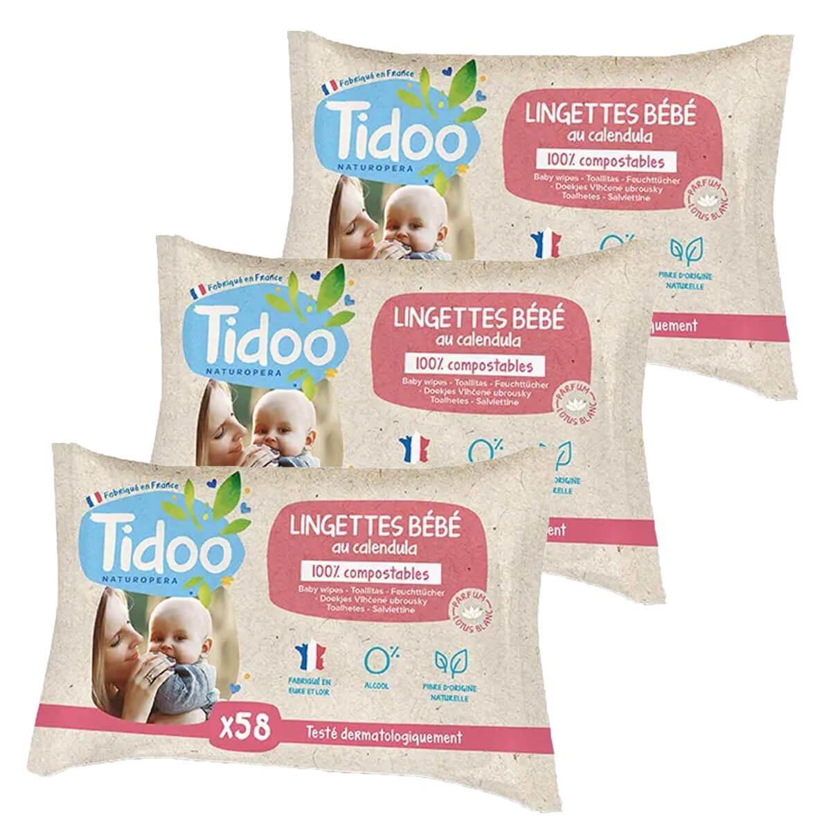 Tidoo - 3x58 Lingettes Bébé Bio Compostables Calendula
