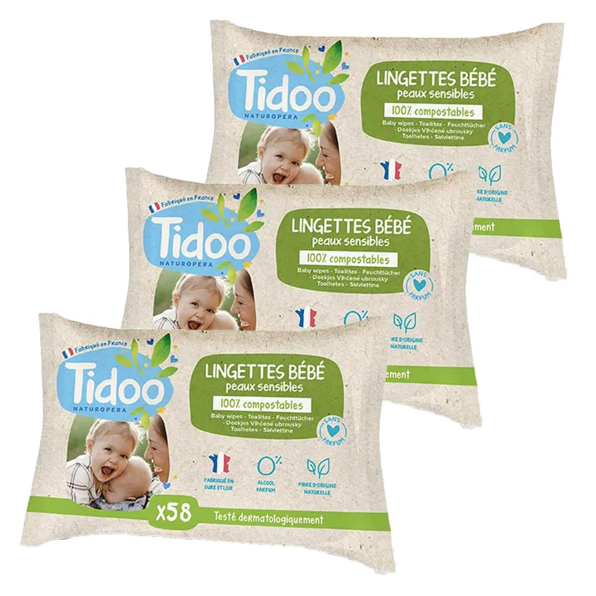 Tidoo - 3x58 Lingettes Bébé Bio Compostables Sans Parfum