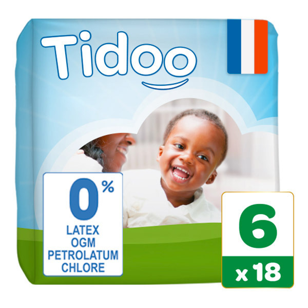 Tidoo - Pack 4x18 Couches T6 16-30kg Hypoallergéniques Nature